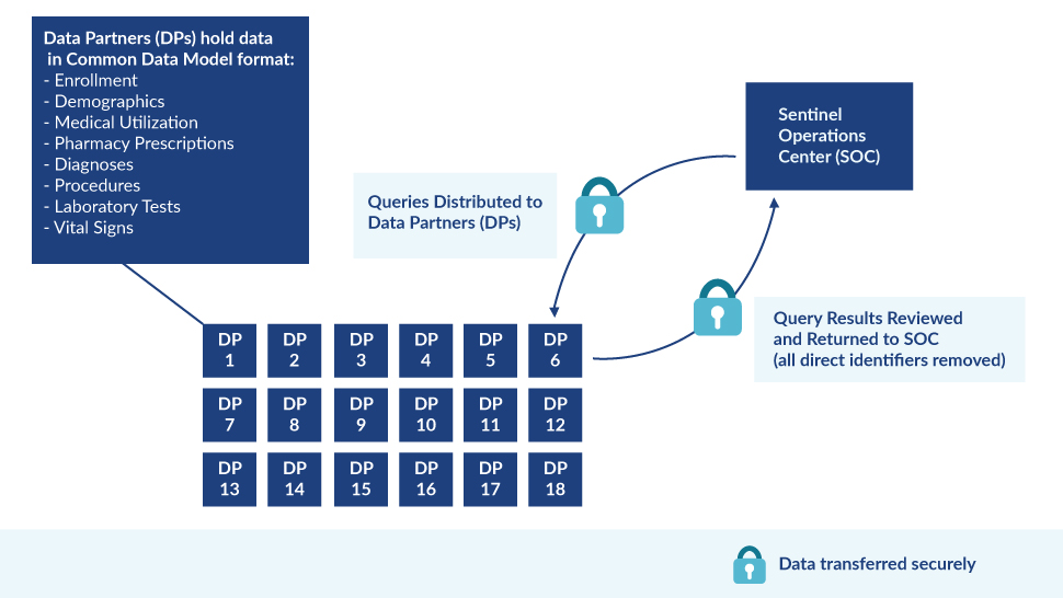 A graphic illustrating Sentinel's distributed data approach.
